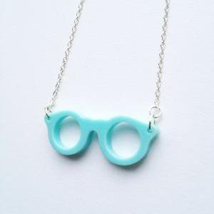 Happy Eye Glass baby blue Necklace ..