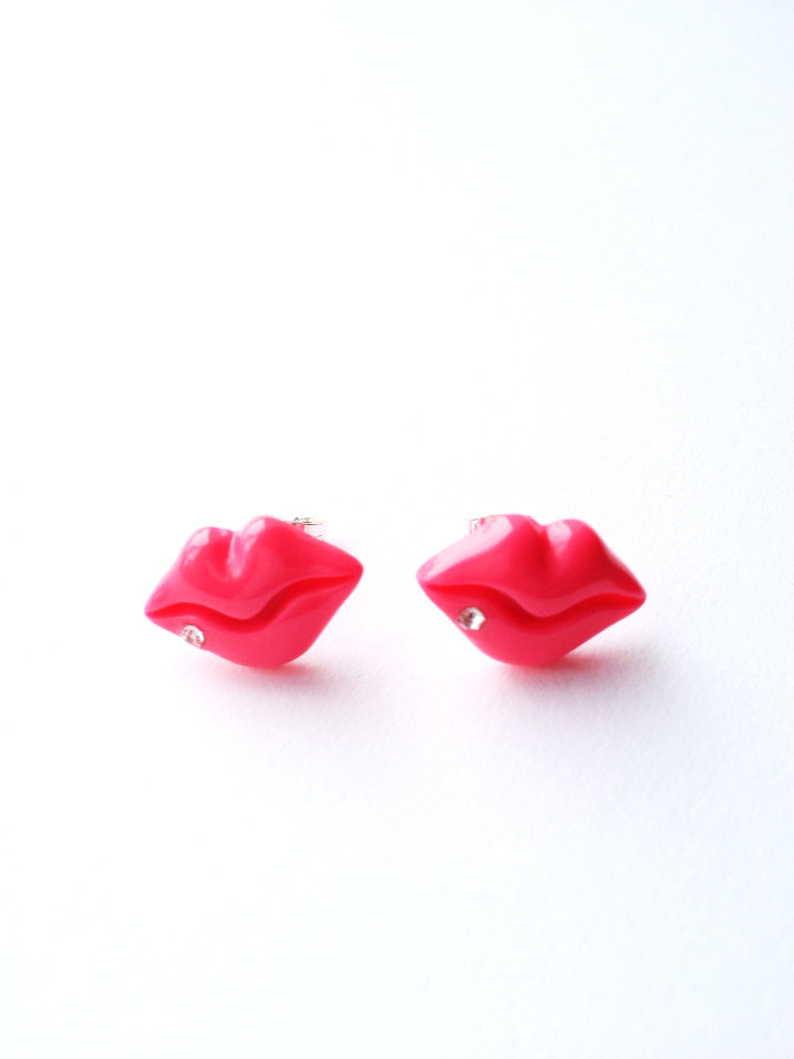 Very Y Hot Pink Lip Post Stud Earring Funky Rock Disco Hip Hop