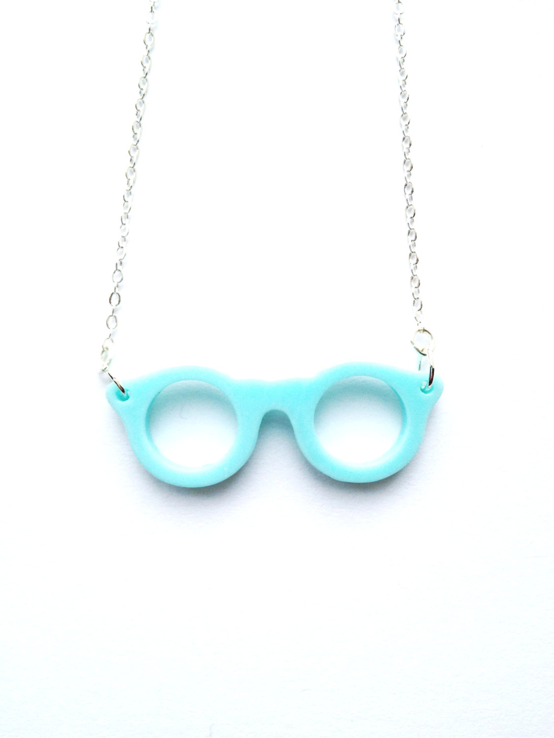 Happy Eye Glass baby blue Necklace :) Happy Lovely Cute Kawaii Jewelry for Kids and Girls xoxo Love Factory
