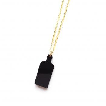 Magical Black Bottle Laser cut charm gold necklace Black :) Happy Lucky fun jewelry xoxo