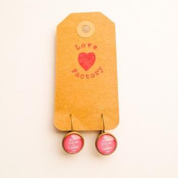 Keep Calm and Carry On Antique Bronze Nickel Free hoop earring :) love factory xoxo