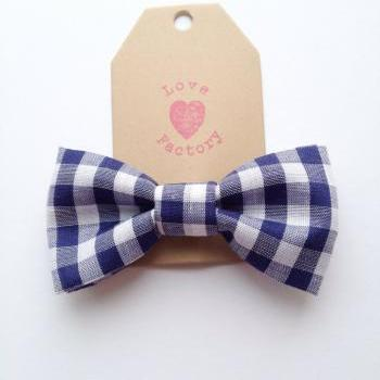 Cute retro chic gingham check navy white bowtie boys and girls pin brooch :) kids bowtie girl boy
