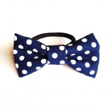 Happy lovely girl Navy Dot Bow Hair band Ponytail holder tie :) Love Factory For Girls Cute little things