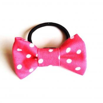 Happy lovely girl Pink Dot Bow Hair band Ponytail holder tie :) Love Factory For Girls Cute little things