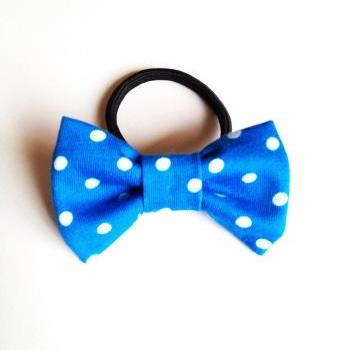 Happy lovely girl Blue Dot Bow Hair band Ponytail holder tie :) Love Factory For Girls Cute little things