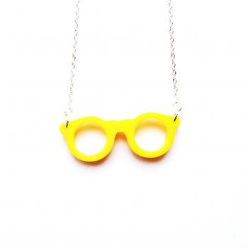 Happy Eye Glass Yellow Necklace :) Happy Lovely Cute Kawaii Jewelry for Kids and Girls xoxo Love Factory